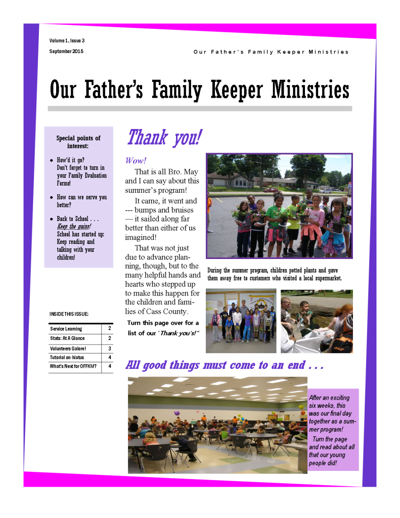 Front page of September 2015 Newsletter