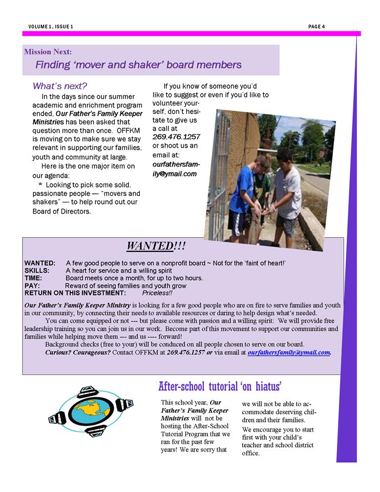 Back page of OFFKM September 2015 newsletter