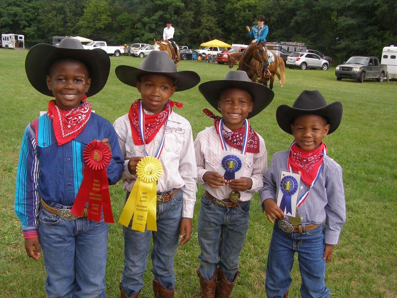 These four young  boys, who are mentored by OFFKM, won awards during recent 4-H horse competition in Cass County.