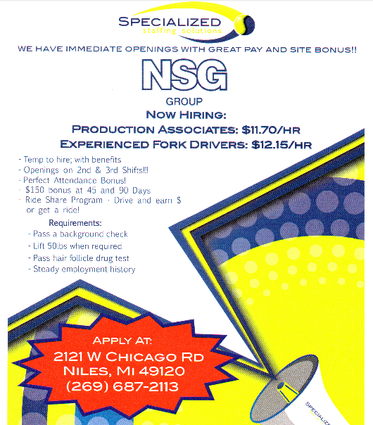 Find a job @ NSG in NIles, www.SSS.jobs