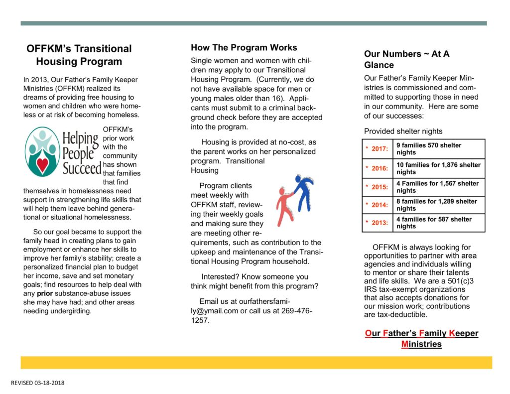Successes transition house program our father 39 s family keeper ministries - What is a transitional home ...
